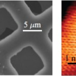 Left, an atomic force microscope image of the suspended graphene membrane on the copper mesh. On the right, a scanning tunneling microscope image with atomic resolution taken on the suspended graphene membrane. The researchers were able to use the scanning tunneling microscope to control the shape, and therefore the electronic properties, of the graphene membrane. Courtesy image.